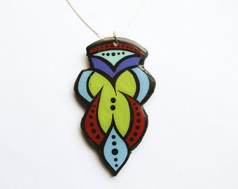 Modern, Bold Abstract Line Green and Turquoise Turkish Tulip Inspired Necklace