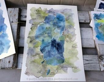 Watercolor Map of Lake Tahoe, original, signed 14x20 in. painting