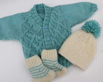 Knit Baby Cardigan, Hat and Booties Set. 3 - 6 months. Blue Cream Baby Boy Set. Blue Baby Boy Cardigan. Cream Pompom Hat and Booties.