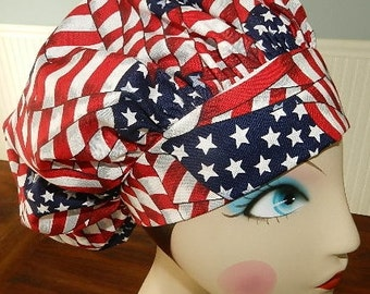 American Flag  Banded Bouffant Surgical Cap