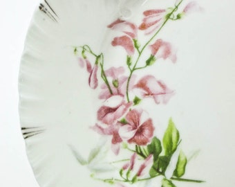 China Plate Gladstone German China White with Pink Sweet Pea Pattern Vintage China Hostess Gift