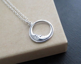 Sleeping moon necklace, sterling silver moon necklace, Sleeping moon charm jewelry, celestial charm, dainty chain