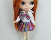 Long sleeve shirt and skirt school uniform for doll Blythe doll 743-5