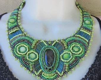 Native American Inspired Bead Embroidered Statement Necklace