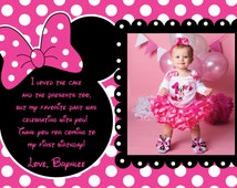 Pink and Black Polka Dot Minnie Mouse thank you card or invitation - pink and White Polka Dot background 1-3 Photo Options