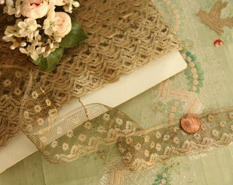 "1 yard Antique French gorgeous metal lace gold patina 1.5""  wide trim patina  collar trim flapper 1900s 1920 edwardian millinery"