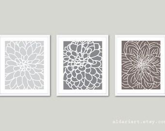 Modern Flowers Art Prints - Dahlia Wall Art - Abstract Flower Wall Art - Set of 3 Prints - Floral - Home Decor - Grey Brown - Neutral Colors