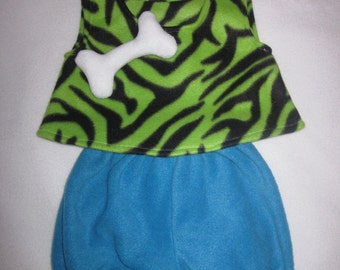 Ready To Ship 24m/2T Flintstones Pebbles Green Zebra Cave Girl Halloween Costume Set Boutique PAGEANT