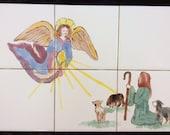 Christmas Scene, Shepherd, Angel, Sheep, Tile, Tray insert, Original painting, Mural, ready for framing.
