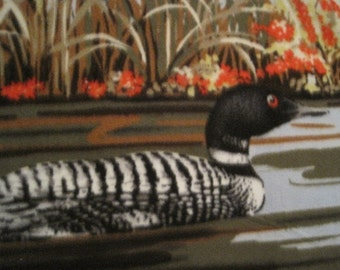 Loon Ducks with Gray Handmade Throw - Ready to Ship Now