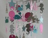 Pink Teal Gray Ocean Nursery Baby Mobile Ocean Creature Nautical Sea Baby Mobile Bright Colors