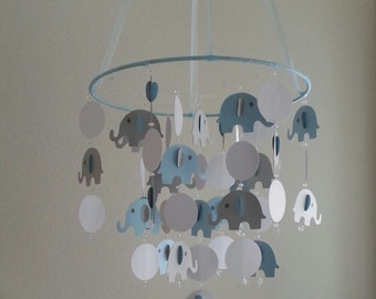 Baby Blue White Gray Elephant Baby Mobile with Circle Can be custom to your colors Photography Prop
