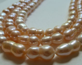 Light Peach Cream Freshwater Peanut Pearls - Pink Undertones on some -  (All Natural)  -  Beautiful Shimmery Luster (039p)