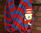 cat in the hat, dr seuss, infinity scarf, womans scarf, scarf, scarves, thing 1, thing 2, emboridery, winter scarf, womans accessories