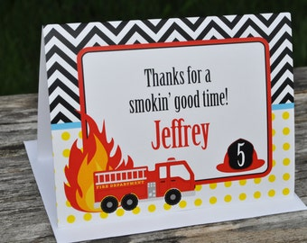 Fire Truck Birthday Thank You Cards - Fire Truck Birthday Decorations - Thank You Notes - Set of 10