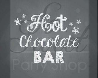 Hot Cocoa Chalkboard 8x10 Rectangular Print - Penguin Birthday - Winter Onederland Birthday Party Decorations - Boy Penguin Birthday
