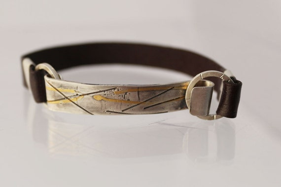 Men's leather sterling silver and 22k gold bracelet, OOAK men's handmade cuff bracelet Christmas gift for him