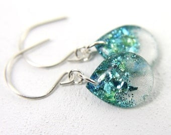 turquoise earrings with blue, green, and teal glitter on sterling silver, 1.25 inches long, teardrop earrings