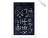 Rubik's Cube Patent Art Blueprint Design Giclee on archival matte paper