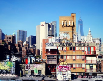 Lower East Side Graffiti, New York City Photography Print, 1 WTC Wall Art, One World Trade Center, New York Print