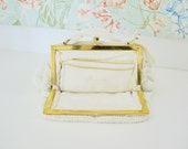 White Beaded + Gold Dainty Purse