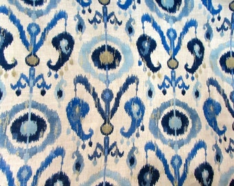 LAKE blue Ikat  designer, drapery bedding multipurpose ikat fabric