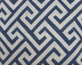 NAVY and ECRU greek key jaquard woven decor designer upholstery fabric