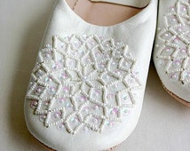 White Babouche Slippers - Les Etoile Style-perfect for birthday gifts for her, for homewear, loungewear, gifts, leather