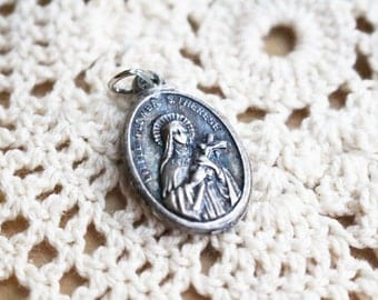 St Teresa Necklace Charm, Little Flower Necklace Pendant, Silver Vintage, Saint of HIV/AIDS, Gardeners and loss of parents   - B