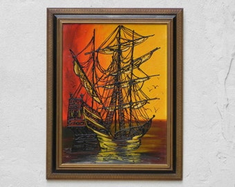 Large Framed Mid Century Ship Painting in Orange & Black