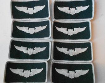Eight unused Regulation US Military Pilot flight Patches black & white.