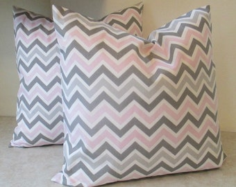 SALE SALE Pillow Covers, 18 X 18 Fabric Both Sides Pink and Grey zigzag Fabric Both Sides was 28