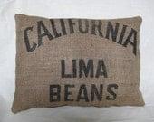 Handmade Vintage Bean Sack Pillow Upcycled Burlap California Bean Sack 14 x 18 Inch Lumbar Throw Pillow