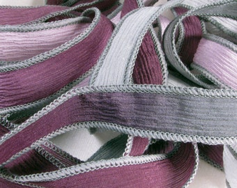 Hand Dyed Silk Ribbons - Hand Painted Crinkle Silk Jewelry Bracelet Fairy Ribbon - Castle Court