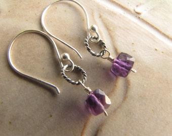 Amethyst Earrings, Sterling Silver Amethyst Earrings, Wire Wrapped Earrings, Semiprecious Stone Earrings