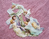 Antique Die Cut Cross with 6 Angels