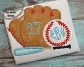 Baseball, Bat and Monogrammed Ball - Machine Appliqued Top - Baseball Glove - Baseball Bat - Baseball - Personalized Baseball Shirt