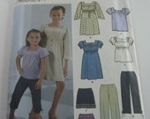 UNCUT Simplicity 5722 Easy to Sew Girls Dress or Top, Cropped Pants & Mini Skirt Sizes 3-4-5-6