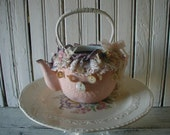 Pink Shabby Chic Tea Pot Re-styled All Vintage Materials Laces Buttons Ribbon Handmade Flowers Feminine Decor