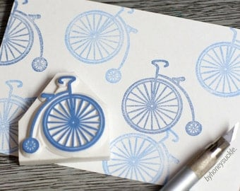 bicycle stamp, vintage bike rubber stamp, penny farthing stamp, old fashioned bicycle, exercise stamp, sports, design, lifestyle, diy stamp