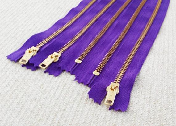 10inch - Violet Metal Zipper - Gold Teeth