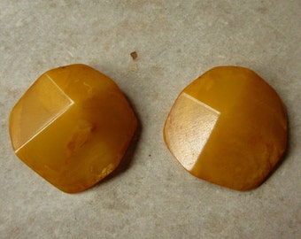 Vintage Marbled Bakelite or Resin Cabochons, Amber Color, Were Clip On Earrings, Craft Supply
