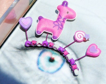 Fuchsia Llama Eyelash Jewelry - false eyelashes with pink and purple llamas