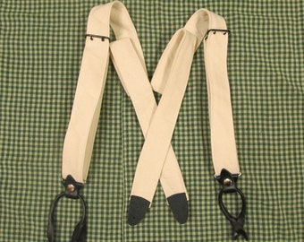 Braces / Suspenders - boys -  two prong buckles - canvas - leather tabs for buttons
