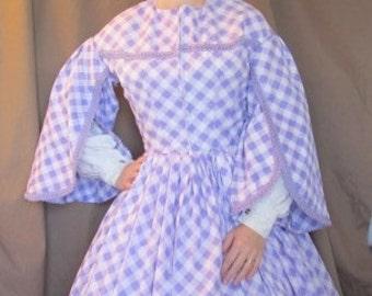 "Bust 36"", Waist  28"" - Visiting / Day Dress - Purple Plaid - Civil War Era - Clearance"