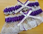 Royal Purple  and White garter,   Wedding garter set,  Personalized,  heart garter, name garter, lacy garter