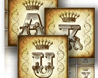 Digital collage sheet download paper art Vintage alphabet letter monogram 1.5x1.5 in square jewelry making supplies (147) BUY3 GET 1 FREE