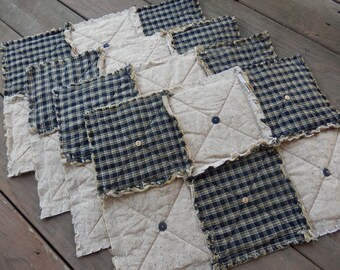 Black Homespun Placemats Set of 4, Plaid Country Primitive with Buttons, Handmade in NJ