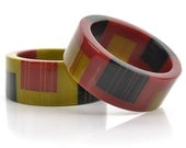 Zazou Cuff // Deep Cherry Red // Black & Olive Stripes