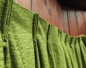 1960s 70s Solid Avocado Green Textured Nubby Pair Pinch Pleat Drapery Curtain Panels from WT Grants